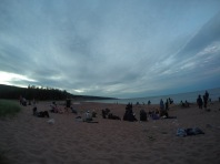 Beach party at the Broad Cove campground, Cape Breton Highlands.