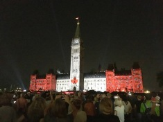 "To celebrate Canada's 150th anniversary, a light show is projected on the Houses of Parliament nightly. This was the finale moment during ""Oh Canada."""