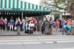 There's always a long line at Cafe du Monde, but at least there's always a sousaphone for entertainment.
