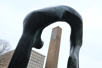 "Eliel Saarinen's First Christian Church framed by Henry Moore's ""Large Arch."""