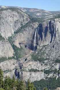 The entire 2,425 ft of Yosemite Falls from the 4-Mile Trail leading to Glacier Point.