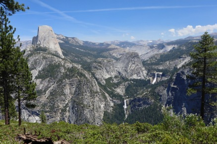 Half Dome, Nevada Falls and Vernal falls from the Panorama Trail just below Glacier Point.
