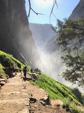 The Mist Trail between Nevada and Vernal Falls. This was the home stretch of a 14.4 mile hike.