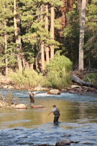 Fly fishermen enjoying the Kings River near Cedar Grove Lodge.