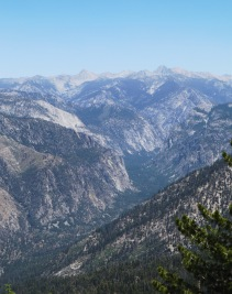 Kings Canyon viewed from the top of Lookout Peak. The summits in the background are up to 13,000 feet high.