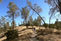 Hiking up the High Peaks trail as part of a 10-mile loop in Pinnacles National Park.