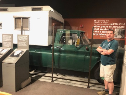 "We stopped by the National Steinbeck Center in Salinas, CA and saw a road trip icon, Rocinante the camper from ""Travels With Charley."""