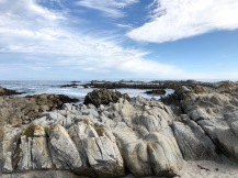 Rocky coastline and tide pools in Pacific Grove, CA.