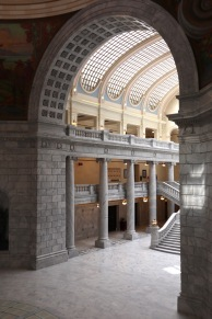 The spacious interior of the Utah State Capitol is meant to evoke the openness of government. It also resembles a train station.