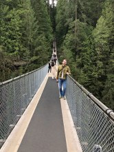 Capilano Suspension Bridge hangs 230 feet above the river.
