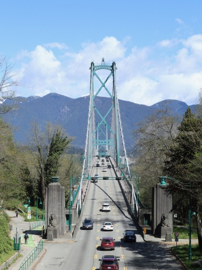 Lions Gate Bridge spans Vancouver Harbour and connects to the north shore.