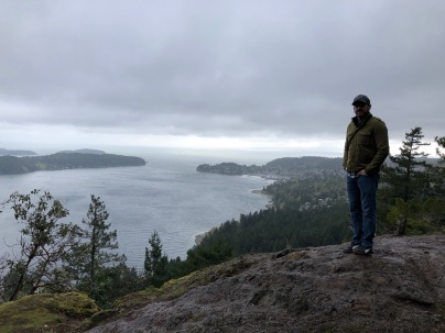Overlooking Gibsons Harbour and the town of Gibsons from the top of Soames Hill.