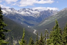 Glacier National Park of Canada has stunning mountain views. This is overlooking Rogers Pass from Marion Lake.