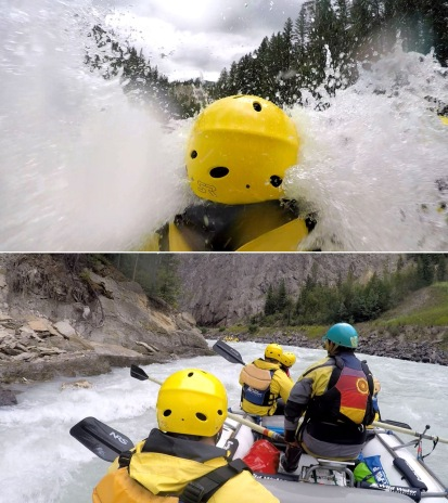 We hit some whitewater with Wild Water Adventures in Golden, BC. So much fun! Nick is taking 45 degree water to the face on the top.