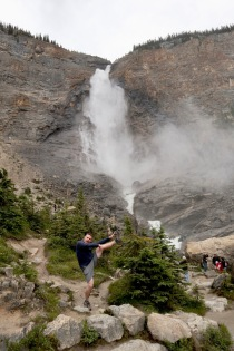 High kicking at Takakkaw Falls in Yoho National Park.