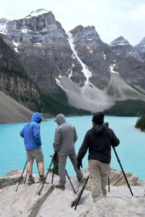 We managed to avoid crowds at Banff's famous Moraine Lake by arriving at 9:00pm. Still plenty of photographers waiting for the magic sunset moment.