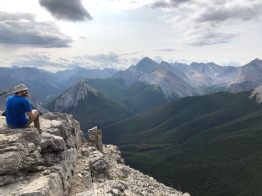 The view from the top of the Sulphur Skyline Trail in Jasper. 360 degrees of mountains around us.
