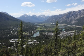 The view of the town of Banff from the trail up Tunnel Mountain.