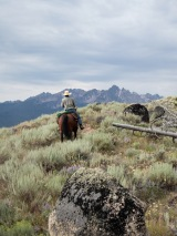 Our guide, Caleb and that beautiful Sawtooth skyline.