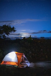Nighttime camping at Craters of the Moon.