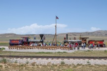 Replicas of the locomotives used during the construction of the Trans Continental Railroad ready for the steam demonstration.