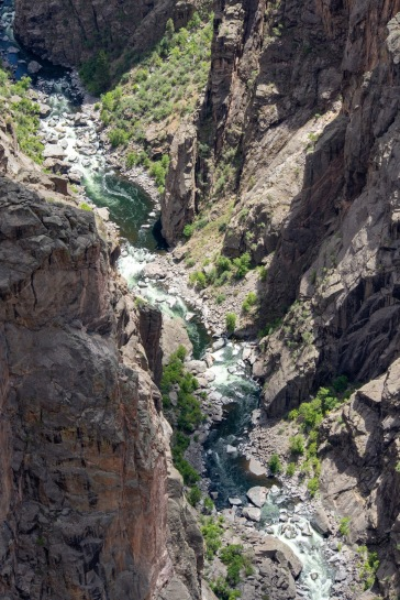 Black Canyon of the Gunnison National Park. Looking down at the Gunnison River deep within.