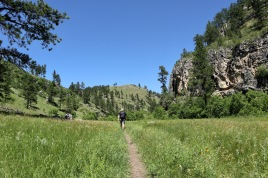 Hiking along the Lookout Point trail at Wind Cave National Park, South Dakota.