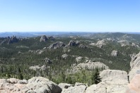 View from the top of Black Elk Peak, the highest point in South Dakota. Black Elk Wilderness. Little Devil's Tower is at center-left.