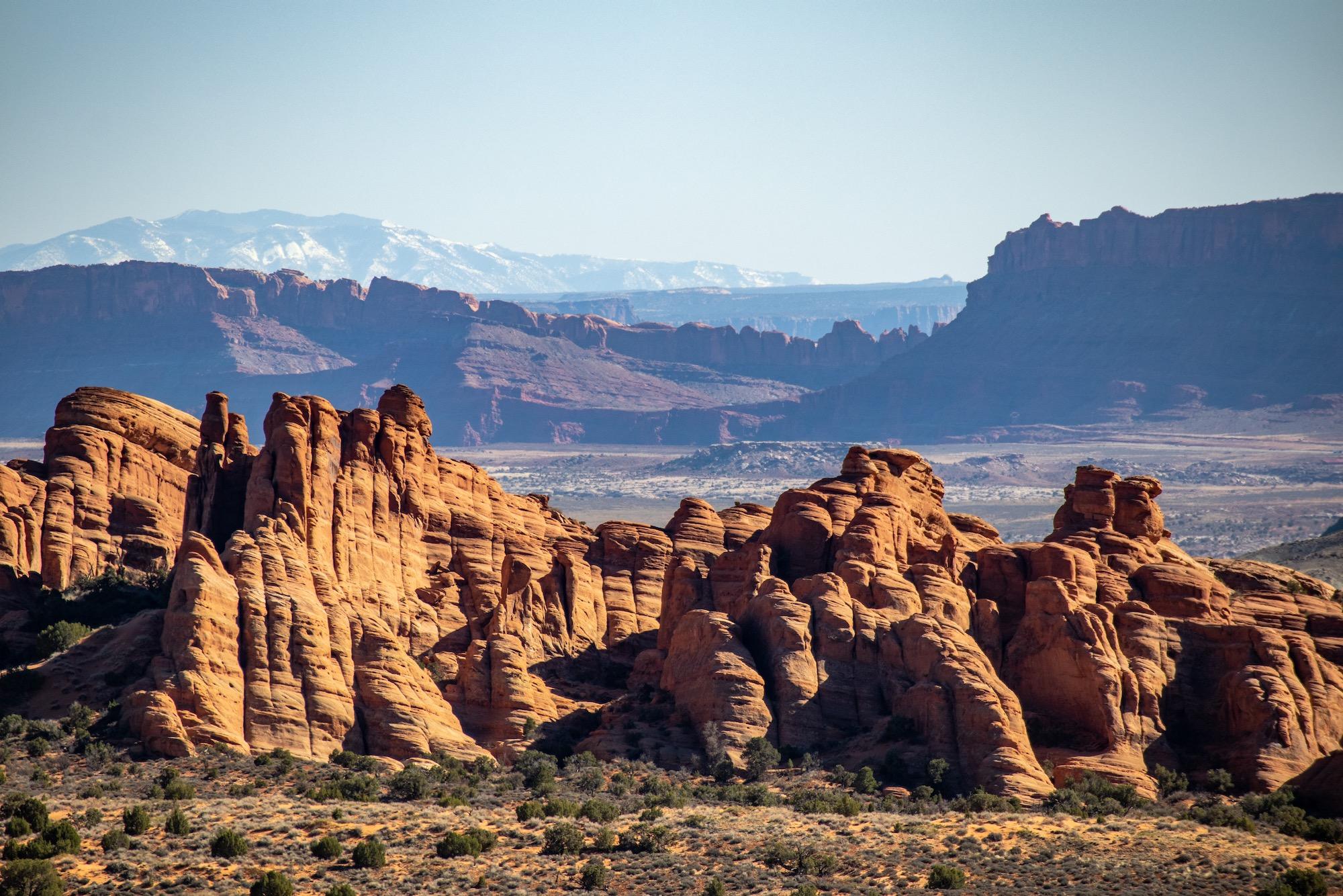 Layers and layers of scenery in Arches.