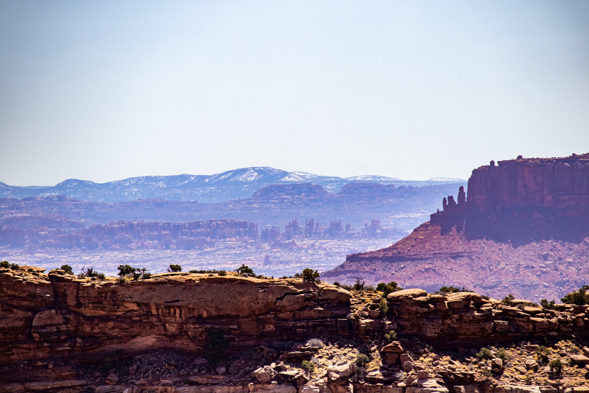 The Needles District of Canyonlands is visible in the distance here (close up views coming up in the gallery).