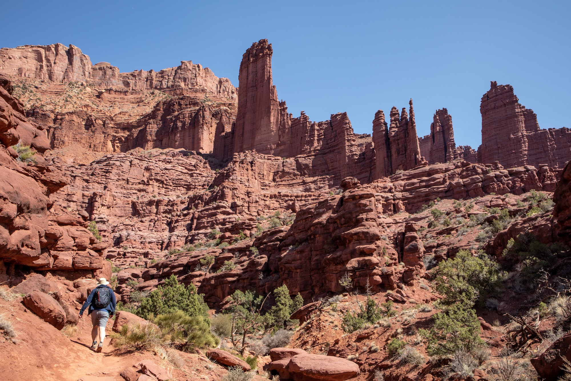 The beginning of the hike at Fisher Towers, a 5-mile out-and-back.