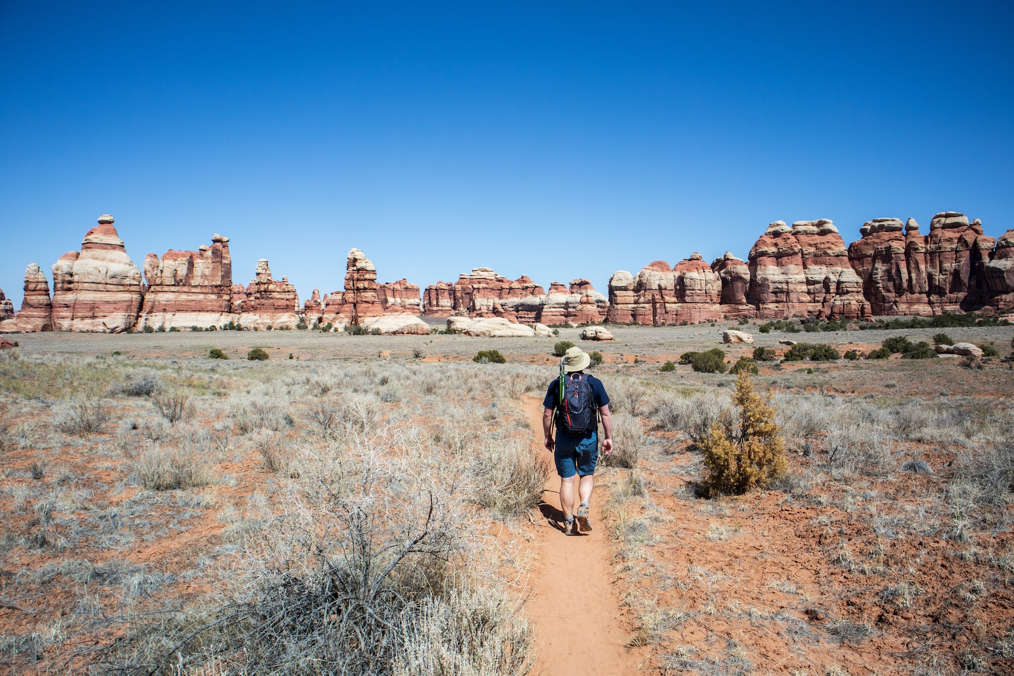 Chesler Park is ringed by the red and white striped towers that give the Needles district its name.