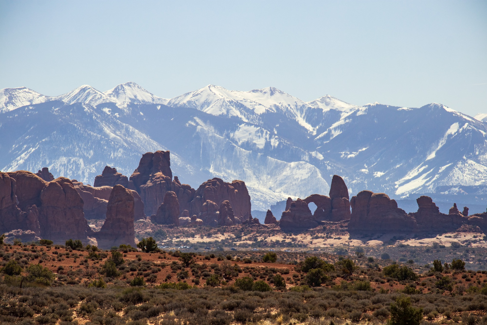 The Windows section of Arches viewed from the Balanced Rock area.