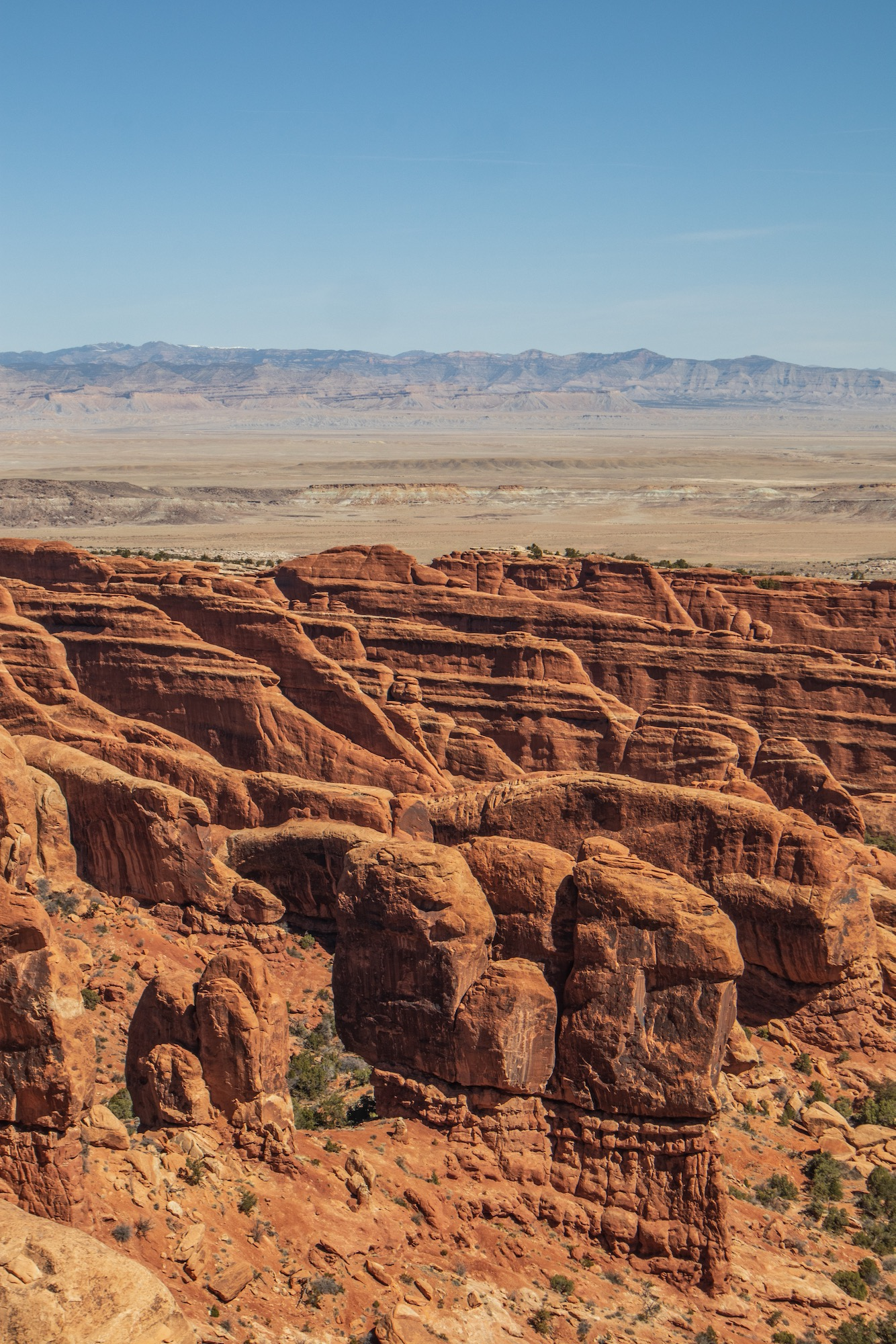 Overlooking Fin Canyon from the Devil's Garden Trail on the way to Double O Arch.